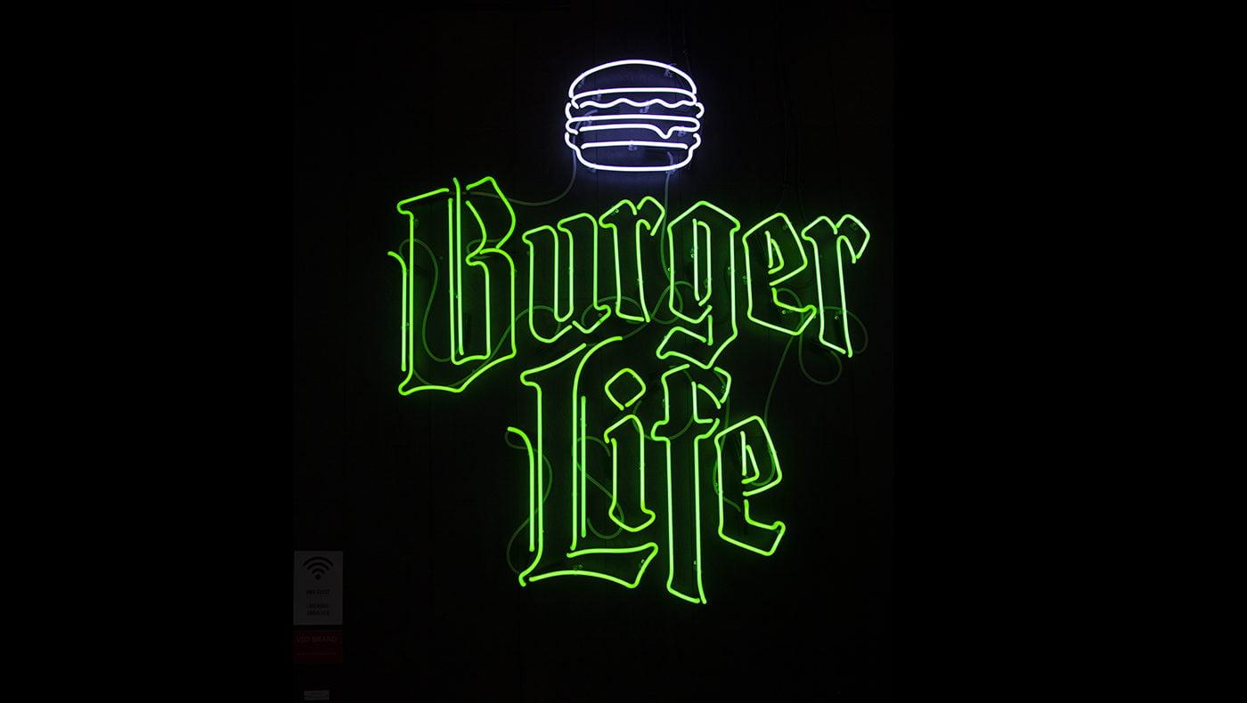 Neonskylt Burger Life